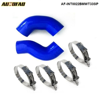 For BMW 135 135I 335 335I E90 E92 06-10 Twin Turbo Silicone Intercooler Pipe Hose Blue+Clamps AF-INT0022BMWT335IP image