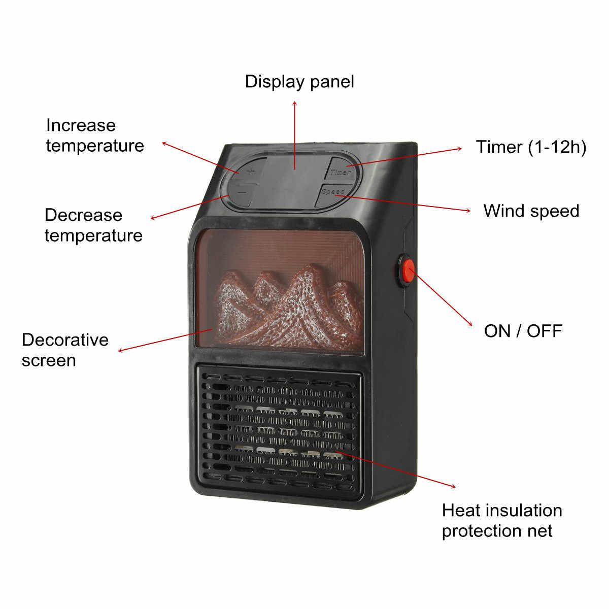 Mini radiateur électrique prise dans la prise murale chauffage 2 niveaux réchauffeur d'air PTC céramique chauffage poêle radiateur ménage mur ventilateur pratique