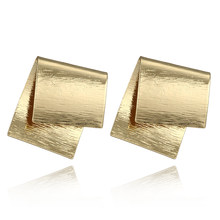 Creative Fashion Gold Color Geometric Irregular Square Alloy Pendant Earrings Women Personality Earring Jewelry(China)