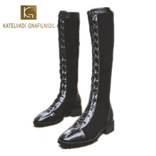 цены KATELVADI  Fashion Rding Equestrain Knee High Boots Women Winter Black Flock Lace-Up Zip Round Toe 4CM Square Heel Boots K-530