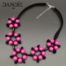 Dandie Acrylic Beads And Ribbon Necklace Flower Pattern Necklace Fashion Shape With Simple And Elegant Jewelry Gift For Women dandie glass beads and metal multi layer necklace fashion modeling accessories simple and elegant jewelry gifts for women