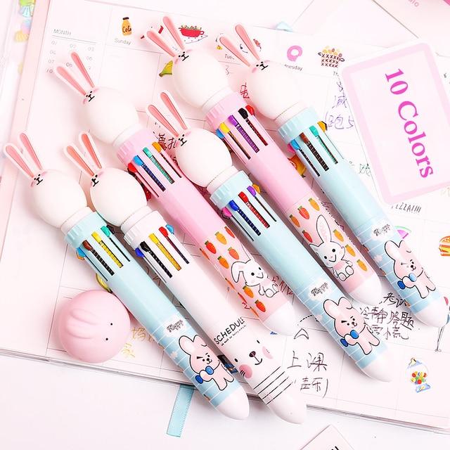 10 Colors Cute Rabbit Ballpoint Pen Kawaii Multicolor Ball Pen Cartoon Dinosaur Pen For Kids Girls Gifts School Stationery 3