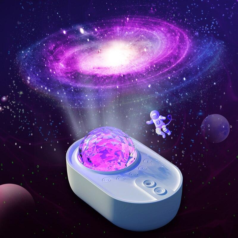 Konesky космический корабль Звездный Ночник проектор галактика Светодиодная лампа для спальни дома вечеринки декор белый Bluetooth динамик