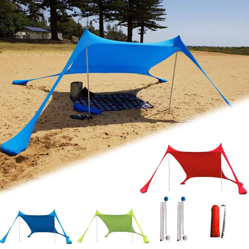 Portable Canopy For Parks Outdoor UPF50+ UV Large Family Beach Sunshade Lightweight Sun Shade Tent Sandbag Anchors 4 Free Pegs