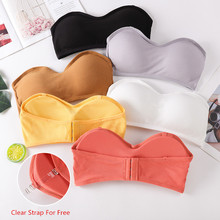 Seamless Women Tube Tops Strapless Sexy Bra Crop Top Back Closure Bandeau Top Underwear Female Strapless Bra Wrap Top basic black white womens plus size xl 3xl strapless unpadded bra bandeau lace tube top removable pads seamless crop colors