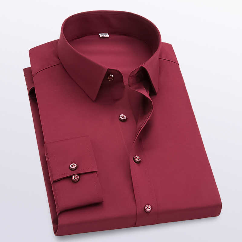 남성 Modis 솔리드 긴 소매 셔츠 슬림 맞는 편안한 긴 소매 셔츠 망 비즈니스 옥스포드 드레스 셔츠 작업복 셔츠