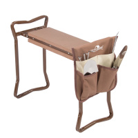 brown-Garden Kneeler and Seat Folding Stainless Steel Garden Stool with Tool Bag