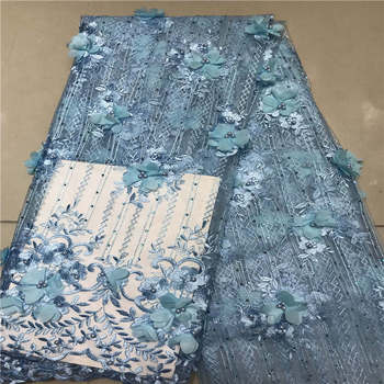 New Fashion French Style Turquoise Blue Nigeria Bridal Embroidered Tulle Beaded Fabric 3d African Laces X653-6