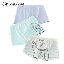 3Pcs/Lot Cotton Child Underwear Cartoon Cute Bear Print Panties for Boys Boxer Toddler Underpants Bule White  Baby Clothes
