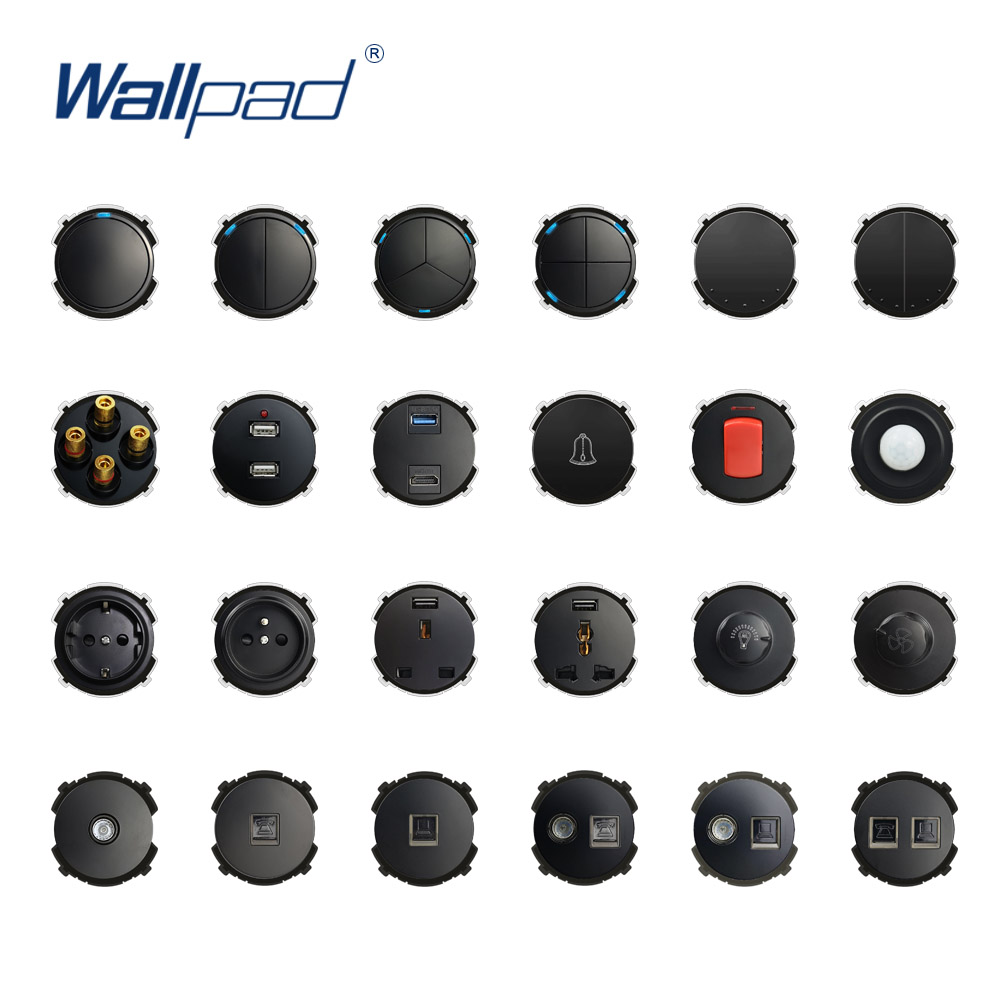 Wallpad Black Wall Light Switch LED Indicator Wall Power Socket Electrical Outlet Function Key Only DIY Free Combination