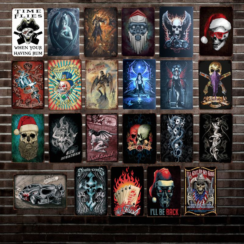 [ DecorMan ] Shabby skull Metal TIN SIGN Custom wholesale Mural Paintings Bar PUB Decor LT-1806