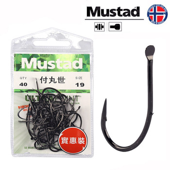 Mustad 10015 Fishing Hooks Anzol Stream Sea Pole Carp Barbed Hook Back Double Barbs Fishing Hooks 4#-19# Shape Baitholder Pesca south bend fishing lures baitholder hooks 10 pack size 2