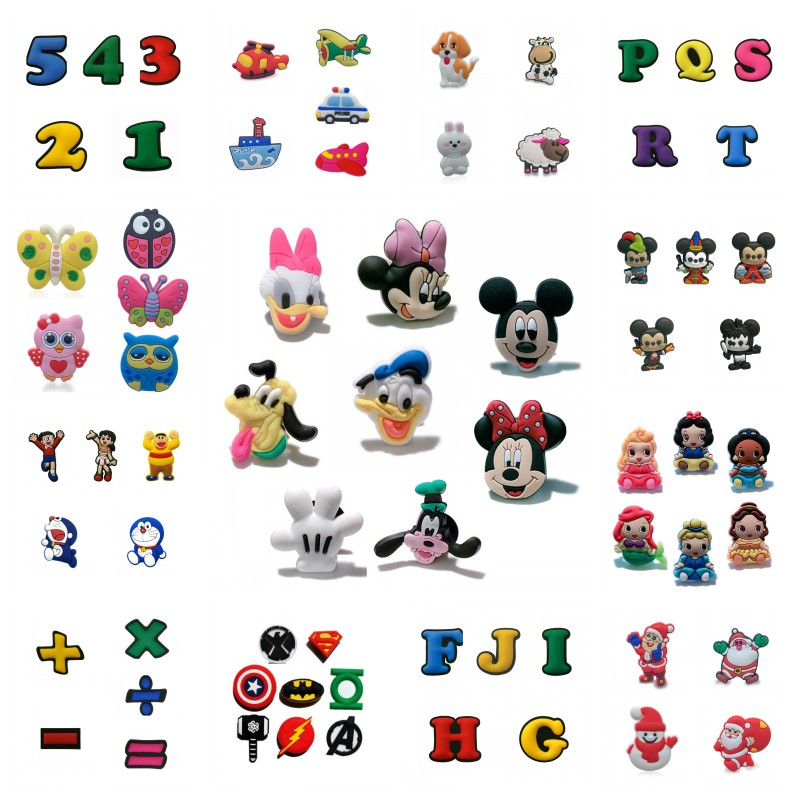 4-8pcs Mickey PVC Shoe Charms Avenger Shoes Accessories Colorful Numbers Buckles Fit Bands Alphabet Croc Charms JIBZ Kids Gift