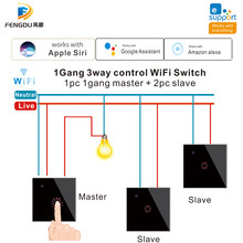 1gang 2 3gang 3 vias wifi controle ewelink wifi inteligente toque interruptor de luz funciona com siri, alexa e google casa voz vontrol