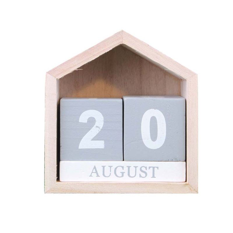 Large White Wooden Perpetual Block Calendar Desk Top Shabby Chic Rustic Vintage