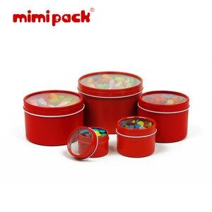 Image 2 - חבילה של 24 לשימוש חוזר עגול מתכת מזון אחסון מכולות mimipack Tinplate מיכל פח קופסות עם ברור מכסה עבור מתנות