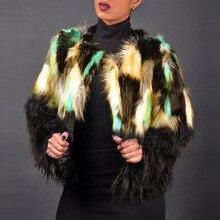 Shaggy Cardigan Faux Fur Coat Women Jacket Winter 2019 Color Design Black Long Sleeve Fleece Plus Size Casual Fashion Coats