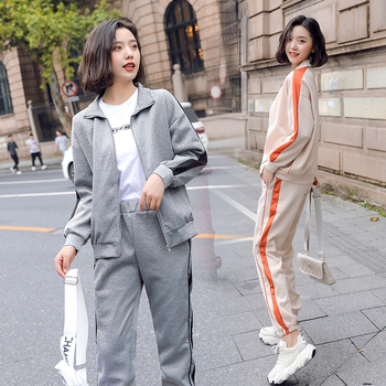 Winter Autumn 2 Piece Set Tracksuits for Women Outfit Coat Jacket Top and Pants Suits Sportsuits Co-ord Set Striped Clothing orange plus size 2 piece set women pant and top outfit tracksuit sportswear fitness co ord set 2019 summer large big clothing