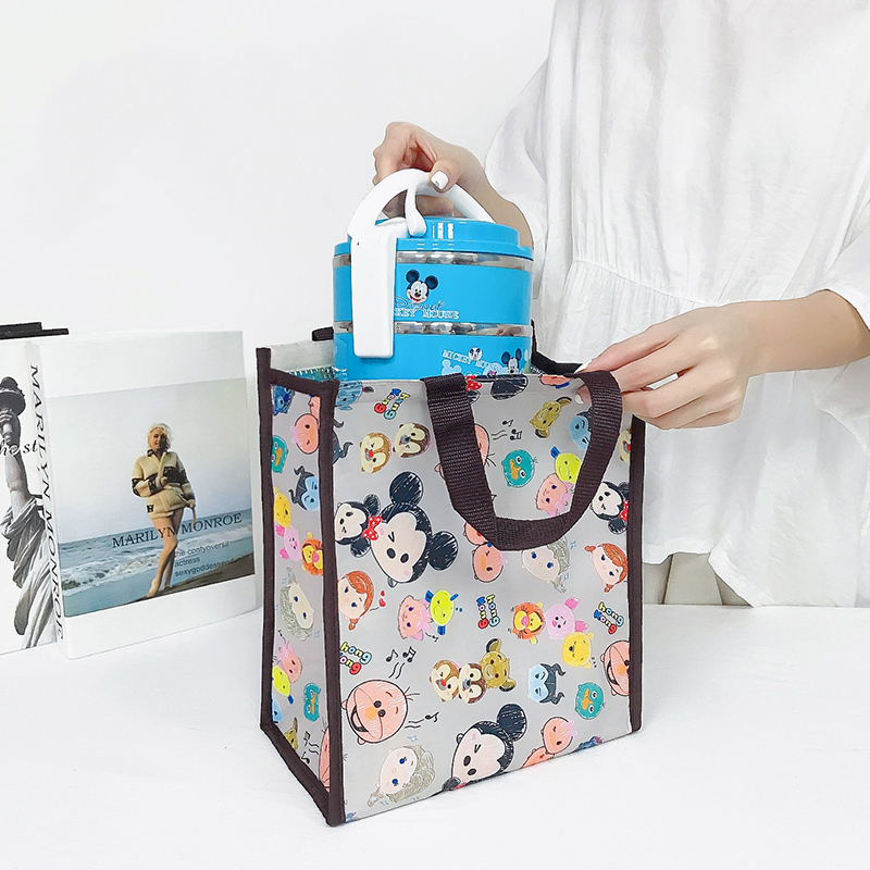 Work Lunch Container Bags Cartoon Oxford Waterproof Shopping Handbag Large Capacity Insulated Thermal Storage Bag For Picnic