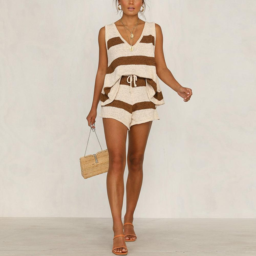 Fashion 2 Pcs Suit Women Clothing Fashion Casual Deep V-neck Vest And Knitted Shorts Women Sets Loose Striped Set