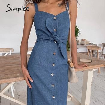 Simplee Sexy long denim dress with belt Vintage  button front denim dress Spring autumn slim ladies office dress 2020