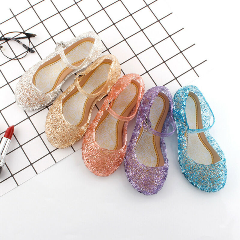 Kids Girl Fancy Crystal Jelly Shoes Up Cosplay  Sandals Princess Frozen Elsa Cosplay Party Dance Shoes Hollow Out Candy Shoes