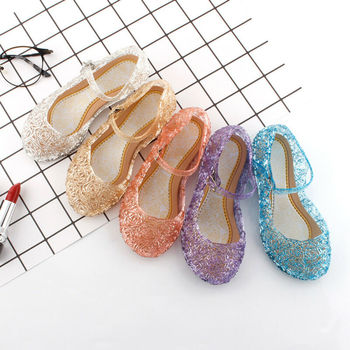 Kids Girl Fancy Crystal Jelly Shoes Up Cosplay  Sandals Princess Frozen Elsa Party Dance Hollow Out Candy