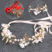 Повязка на голову с жемчужным цветком Новинка корона для невесты женские аксессуары для волос сусальное золото повязка на голову тиара с ук...