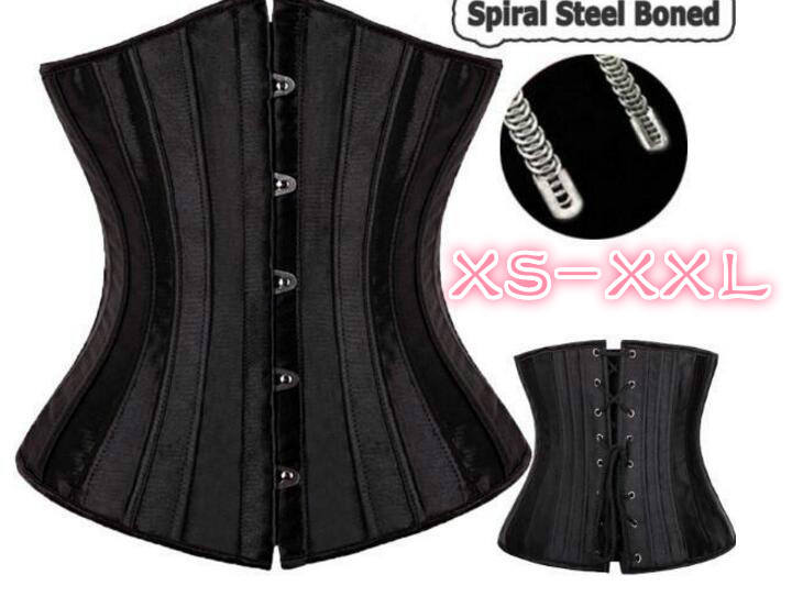 Black 28 steel bones boned Waist Training Underbust lace up corset Top Shaper