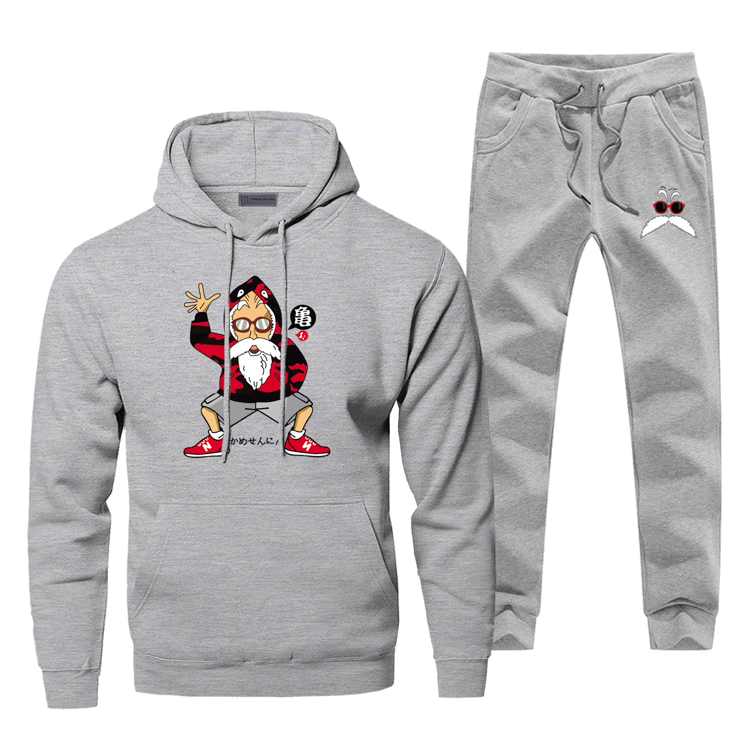 Dragon Ball Hoodies Pant Set Men Master Roshi Sets Japan Anime Sweatshirt Sweatpants Sportswear Autumn Pullover 2 PCS Tracksuit