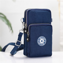 Bolsa de celular de 6 polegadas para mulheres, bolsa estampada com zíper de ombro