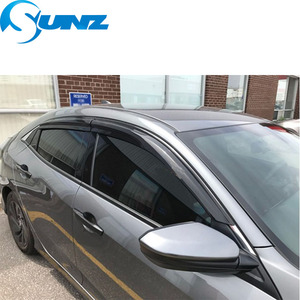 Image 4 - Deflektory boczna szyba kolor czarny daszek na szybę samochodową osłona przeciwsłoneczna dla Honda civic 2016 2017 2018 akcesoria samochodowe SUNZ