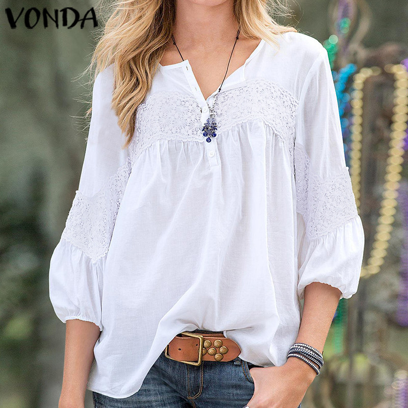 VONDA Fashion Women Blouses 2019 Tunic Casual Loose Beach Tops Bohemian Sexy White Shirts 2019 Summer Party Tops Plus Size Blusa
