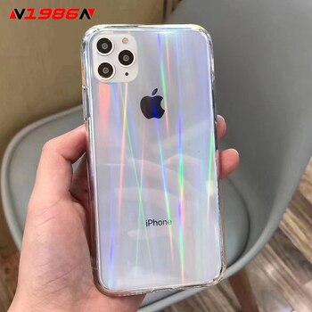 N1986N Laser Arc-En-Ciel Pour iPhone SE 2020 X XR XS Max 11 Pro Max 6 6s 7 8 Plus De Luxe Transparent Coloré Étui En Acrylique 1