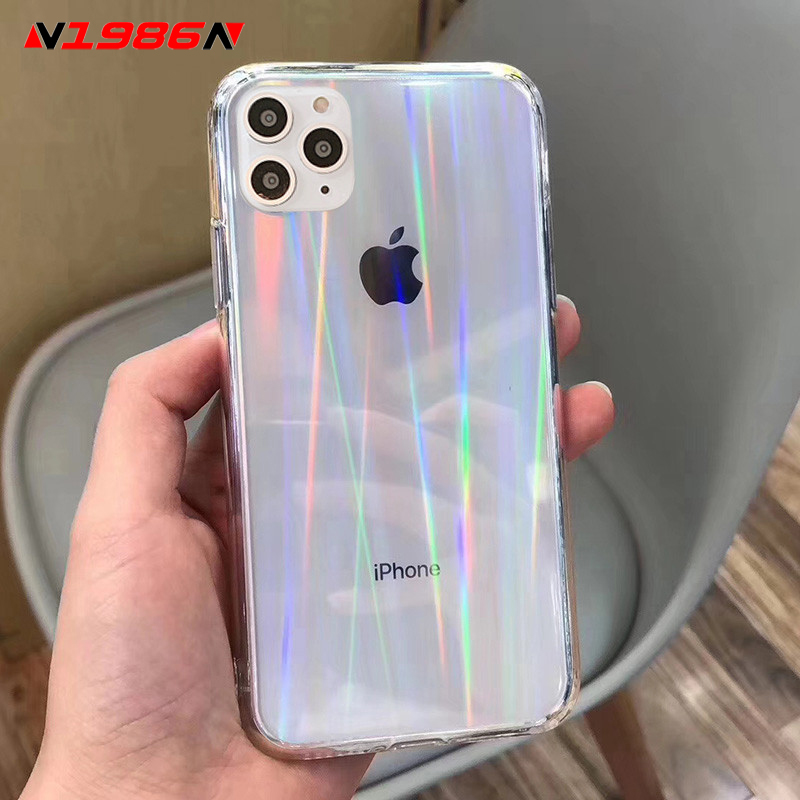 Iphone Se 2020 Case | N1986N Rainbow Laser Case For IPhone SE 2020 X XR XS Max 11 Pro Max 6 6s 7 8 Plus Luxury Colorful Transparent Acrylic Phone Case