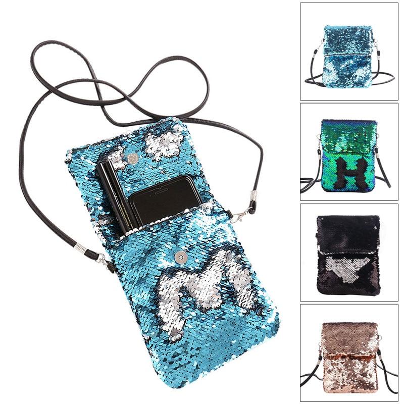 2019 Newly Fashion Women Sequins Crossbody Shoulder Bag Pouch Case Mini Mobile Phone Handbag Card Holder J9