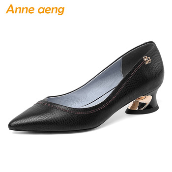 2020 New Genuine Leather Women Pumps 4.5cm Middle Heels Pointed Toe Shallow Metal Fashion Women Cow Leather Shoes Black Pumps