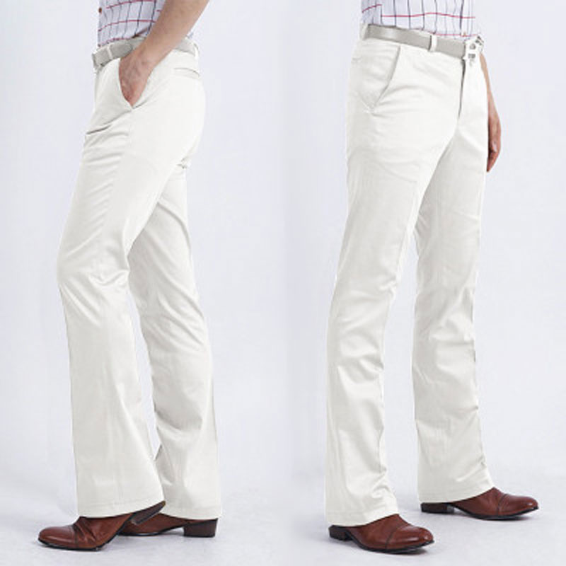 2020 Men's Business Casual FIared Pants Slim-fit Non-scalding White Trousers Male Korean Version Of The Big Pants Wide-leg Pants