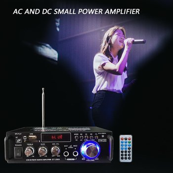 12V/ 220V BT-298A 2CH LCD Display Digital HIFI Audio Stereo Power Amplifier bluetooth FM Radio Car Home with Remote Control image