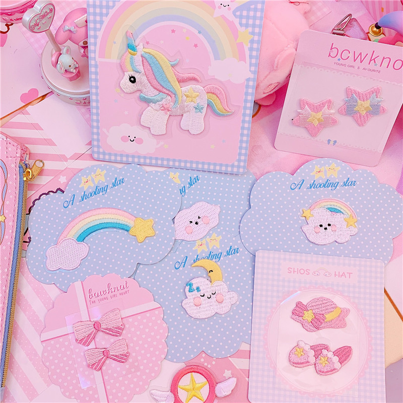 Lovely Rainbow Unicorn Bow Iron On Cartoon Pattern Clothing Patches Badges Embroidery Sequins Apparel Garment Bags DIY