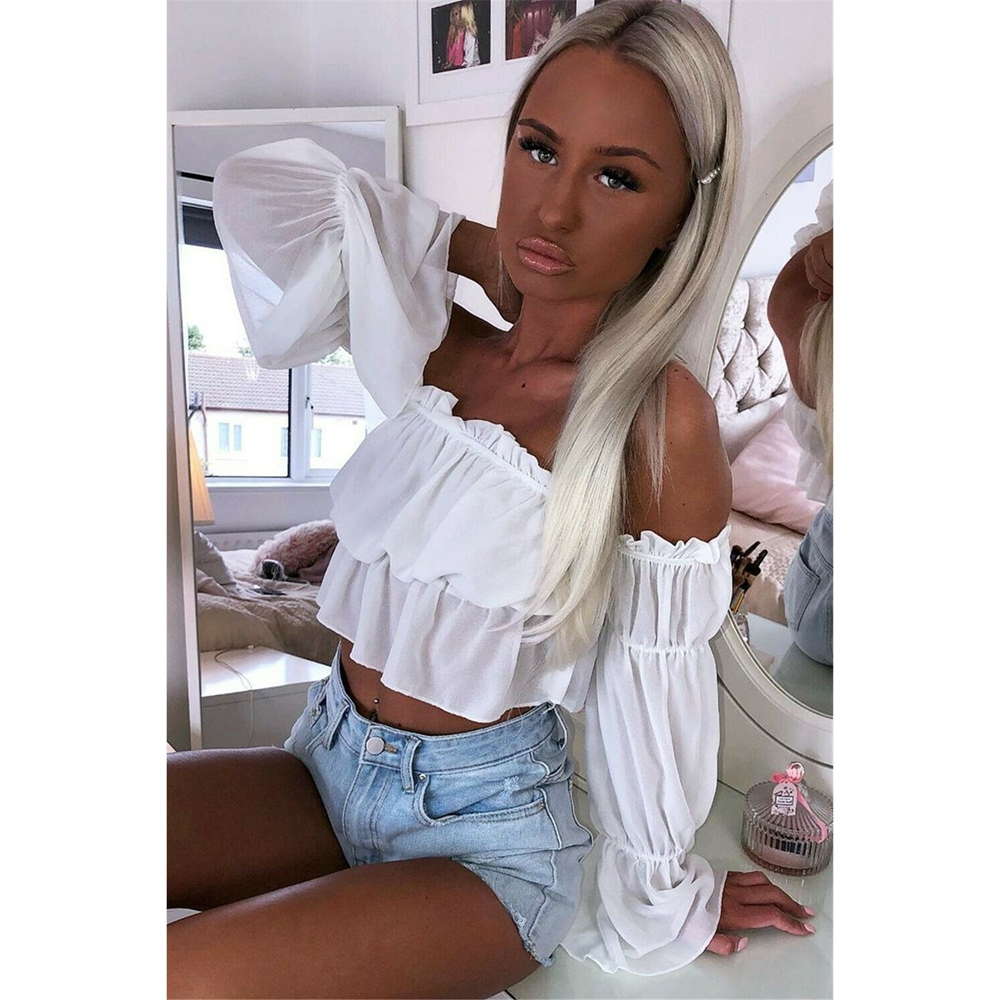 Sexy Candy Color Women Off Shoulder Sheer Mesh Puff Long Sleeve Ruffle Crop Tops Shirt Blouse Tops