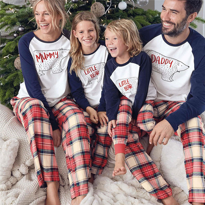 Christmas Family Matching Pajamas Set Adult Women Kids Bear Sleepwear Nightwear