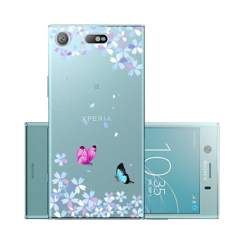 Étuis pour Sony de téléphone en silicone Xperia XZ1 XZ4 XZ2 Mini étuis compacts couverture souple transparente pour Sony XA2 XA1 Ultra Plus couverture arrière