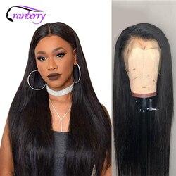 Pelucas de cabello humano Cranberry con frente de encaje recto línea de pelo pre-desplumado 13X4 o 13x6 peluca con malla frontal brasileña pelucas de pelo Remy