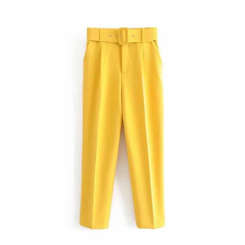 Thời Trang Nữ Màu Trơn Tất Giày Lười Quần Sang Trọng Quần Tây Công Sở Nữ Giả Dây Kéo Pantalones Mujer Retro Quần