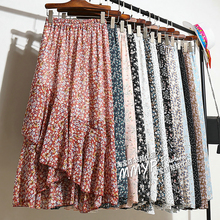 Summer New Women Midi Skirts Korean Ruffles Bohemian Skirts Ladies Holiday Polka Floral Layer Flare Beach Skirt High Waist Skirt