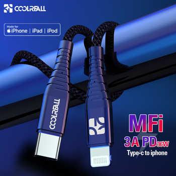 Coolreall PD USB C à Lightning câble charge rapide 36W MFi certifié C94 pour iPhone X XS XR 8Plus MAX iPad Pro Macbook USB C ord