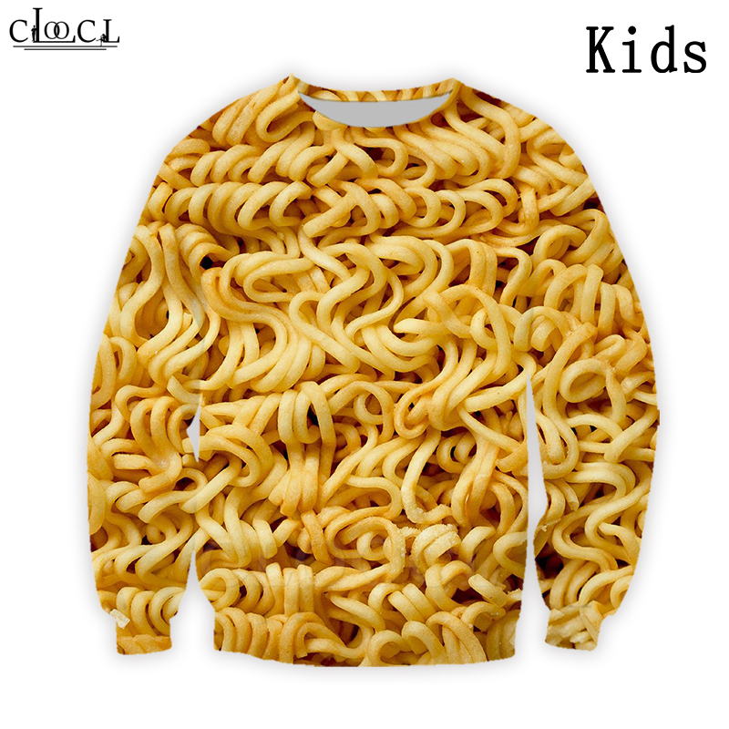 Instant Noodles Sweatshirt Baby Boy Baby Girl Children's Harajuku Tops Casual 3D Print Personalized Design Hand-Pulled Noodle