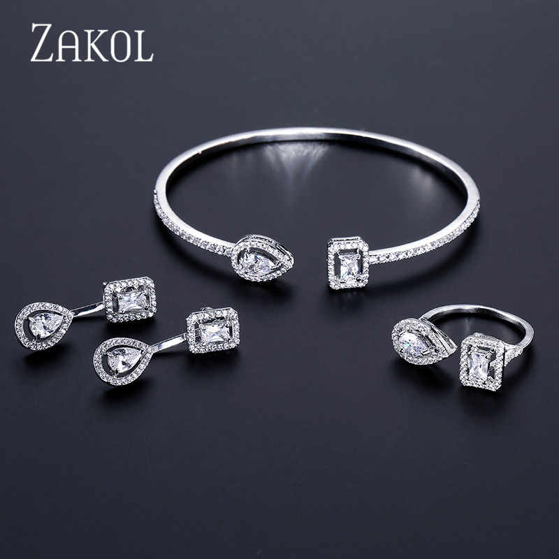 ZAKOL Brand Fashion Design Jewelry Set Sparking CZ Stone Earrings Bracelet & Bangle Ring For Women Engagement FSSP3011