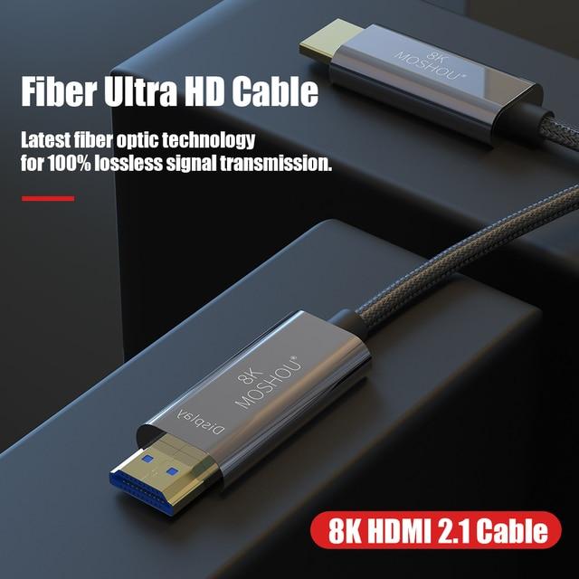 8K เส้นใย Ultra HD สาย HDMI 2.1 CABLE 8K @ 120Hz Optical HIFI Audio สายเคเบิล HD (UHD) สายวิดีโอ 48Gbs สายไฟ HDR 4:4:4
